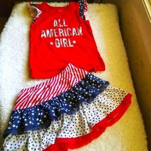 All American Girl Shirt & Skort Set